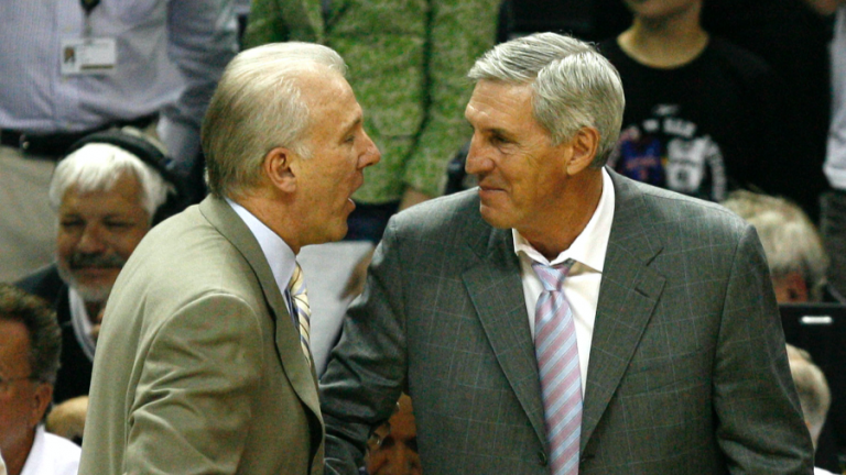 Spurs coach Gregg Popovich and Jazz coach Jerry Sloan shake hands after the Utah Jazz are defeated by the San Antonio Spurs in game 5 of the NBA Western Conference Finals in San Antonio, Texas, May 30, 2007.