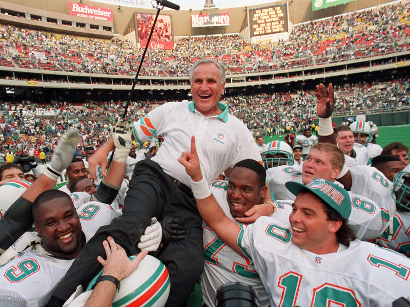 Don Shula is carried on his team's shoulders in 1993 after his 325th victory, against the Philadelphia Eagles in Philadelphia.