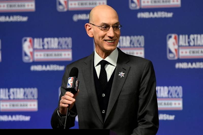 NBA Comissioner at the podium for the 2020 NBA All-Star Game